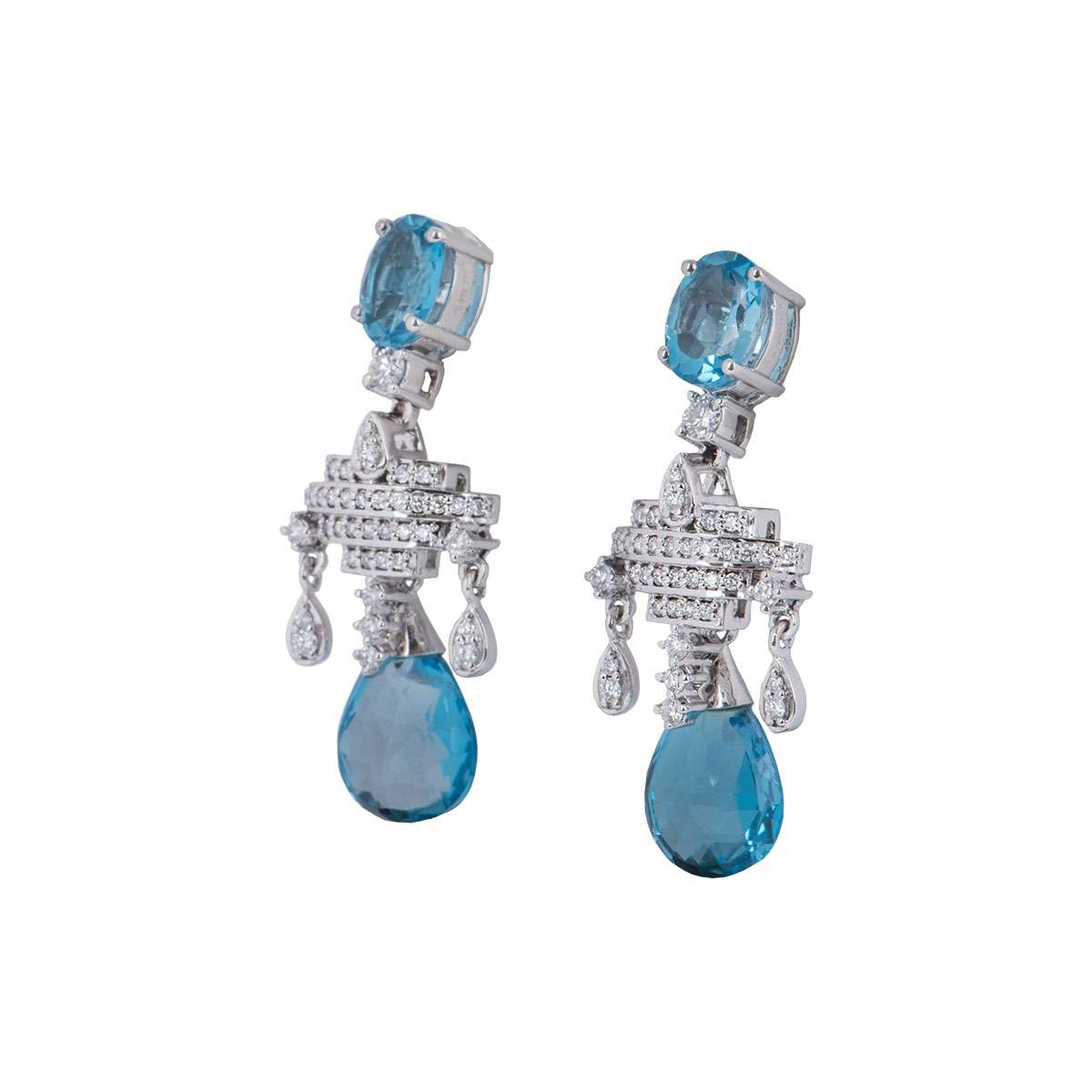 White Gold Diamond and Aquamarine Earrings